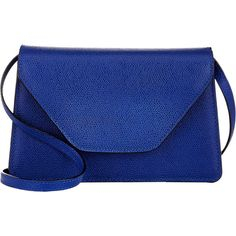 Valextra Isis Crossbody ($1,150) ❤ liked on Polyvore featuring bags, handbags, shoulder bags, bolsas, purses, blue, blue shoulder bag, shoulder strap bag, leather purse and crossbody purse
