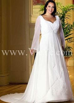 0dd01489ac9 A-line V-neck Empire waist Floor-length Chapel Train Long Sleeve Embroidery  Stain Chiffon Plus Size Wedding Dresses Wedding Gowns With Sle.