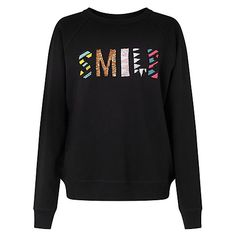 Buy Uzma Bozai Smile Sweatshirt, Black Online at johnlewis.com
