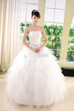Tüll Prinzessin natürliche Taile anständiges Brautkleid ohne Ärmeln mit mehrschichtigen Rüsche