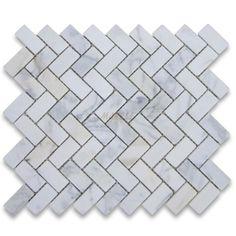 Calacatta Gold 1x2 Herringbone Mosaic Tile Tumbled