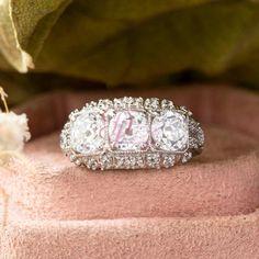 Three Stone Old European Cut CZ & Moissanite Round Ring - Art Deco Edwardian Ring - Engagement Proposal Ring - Filigree Style Unique Ring Edwardian Ring, Edwardian Fashion, Proposal Ring, Moissanite, Unique Rings, Diamond Earrings, Art Deco, Engagement, Stone