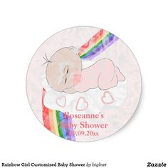Rainbow Girl Customized Baby Shower Classic Round Sticker