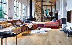 Suelo de madera de la marca Meister, en gran formato.