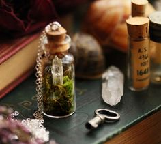 A tiny clear crystal quartz point has been nestled on a bed of real dried green moss inside a miniature glass bottle, alongside two dandelion wishes to make this cute little terrarium necklace.