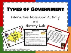 Click here to see this lab in action on my blog!  Kids love glue, scissors and engagement.  why not combine this love with learning about the types of government around the world?  This mini unit focuses on the four basic government systems: monarchy, dictatorship, democracy, and republic.
