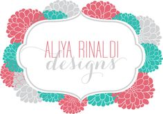 Aliya Rinaldi Designs: Invitations, Logos & Graphic Design. Very cute logo for a design firm. I love the colors and the delicate flowers. Very girly, might not appeal to more masculine clientele, but that's probably not what they were going for