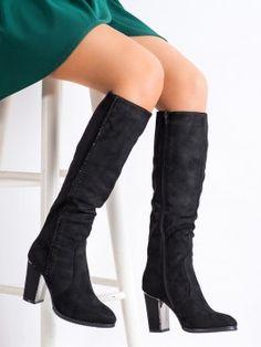 Semišové čižmy s kamienkami Knee Boots, Shoes, Products, Fashion, Tatoo, Moda, Zapatos, Shoes Outlet, Fashion Styles