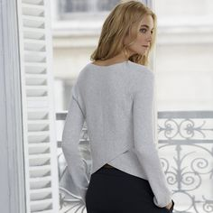 Ribbed Back Over Lap Sweater | Sweaters & Cardigans | Clothing | The White Company US
