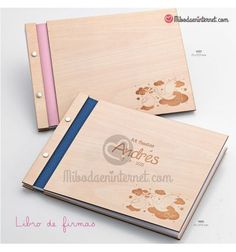 Libro de Firmas Bautizo Madera Cigueña Rosa / Celeste Ideas, Pink, Signature Book, Notebooks, Wood, Thoughts