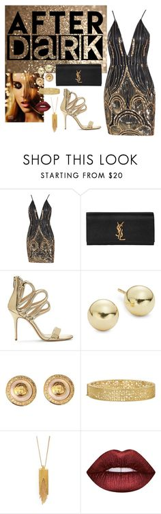 """""""After Dark"""" by amandamaier ❤ liked on Polyvore featuring Yves Saint Laurent, Lord & Taylor, Versace, Yossi Harari, Dean Davidson and Lime Crime"""