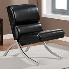 @Overstock - Slip into comfort with this Rialto bonded leather chair. This black chair will complement your interior decor with a relaxing spring seat and smooth upholstery.http://www.overstock.com/Home-Garden/Rialto-Black-Bonded-Leather-Chair/5749774/product.html?CID=214117 $143.99