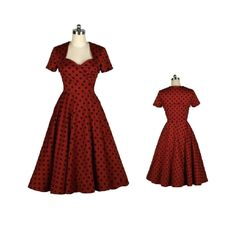 BEST SELLER Red Black Dots Made-to-Order Retro 50s Pinup Girl Rockabilly Style Dress by After The Rain