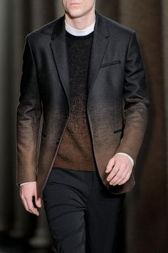 Black and Brown Ombre Jacket and Sweater, by Neil Barrett, Men's Fall Winter Fashion.