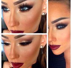 Love the lips and eye makeup. make up makijaż, oczy, niebies Eye Makeup, Matte Makeup, Flawless Makeup, Gorgeous Makeup, Pretty Makeup, Beauty Makeup, Fall Makeup, Makeup Style, Perfect Makeup