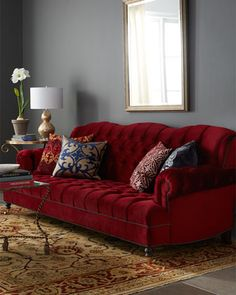 Haute House Mr Smith Cranberry Sofa Red Tufted