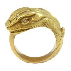 Egyptian Revival Art Nouveau  Gold Snake Ring | From a unique collection of vintage more rings at https://www.1stdibs.com/jewelry/rings/more-rings/