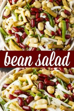 Healthy Recipes : Illustration Description Bean Salad – Packed full of yummy fibre. This easy salad recipe is loaded with beans and a flavorful dressing. Best Salad Recipes, Salad Dressing Recipes, Chicken Salad Recipes, Bean Recipes, Side Dish Recipes, Healthy Recipes, Side Dishes, Salad Dressings, Pasta Recipes