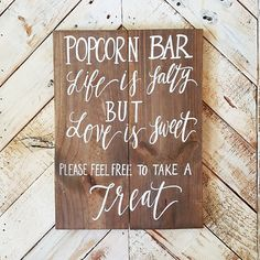 Popcorn Bar Sign, Wedding Favor Sign, Rustic Wooden Wedding Sign, Love is Sweet, The Paper Walrus