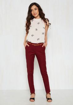 Situationally Savvy Pants in Burgundy - Red, Solid, Work, 90s, Fall, Exclusives, Variation, Pockets, Belted, Vintage Inspired, Casual, 50s, 60s, Summer