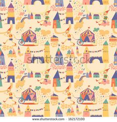Illustration of Seamless pattern with houses for childrens background. Seamless pattern can be used for wallpaper, pattern fills, web page background, surface textures vector art, clipart and stock vectors. Free Vector Art, Painting For Kids, Vintage Colors, Royalty Free Stock Photos, Kids Rugs, Quilts, Blanket, Abstract, Wallpaper