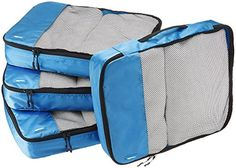 AmazonBasics 4-Piece Packing Cube Set - Large, Blue * Want to know more, click on the image.