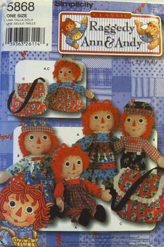 """Simplicity 5868 Raggedy Ann & Andy 21"""" Doll, Clothes and Tote"""