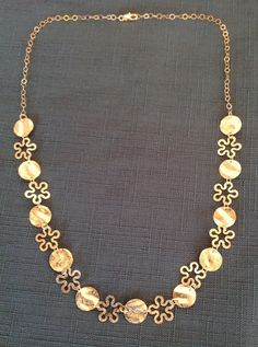 14K gold filled necklace  circle and flower by OritWhiteLight, ₪400.00