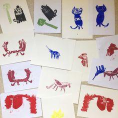 Animaux en tampon papier – Le DADA de l'Enfant Terrible Playing Cards, Animaux, Paper, Drawing Drawing, Playing Card Games, Game Cards, Playing Card