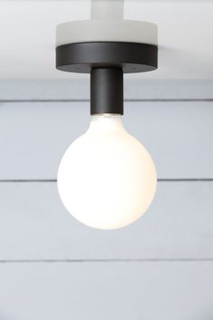 Matte Flat Black Ceiling Light - Bare Bulb
