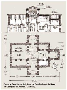Planta y Sección de la Iglesia de San Pedro de la Nave, Campillo de Arenas (Zamora) -Tradición Visigoda.