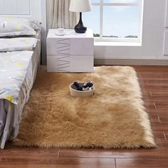 Rectangle Animal Free Soft Faux Sheepskin Fur Area Rugs for Bedroom Floor Shaggy Silky Plush Carpet White Faux Fur Rug Bedside Rugs Fur Carpet, Carpet Mat, Plush Carpet, Grey Carpet, Carpet Runner, Rugs On Carpet, Yellow Carpet, Modern Carpet, Bedroom Carpet