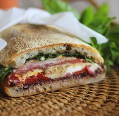 Pressed Brick Sandwich made from Ciabatta and filled with all your favourite antipasto ingredients