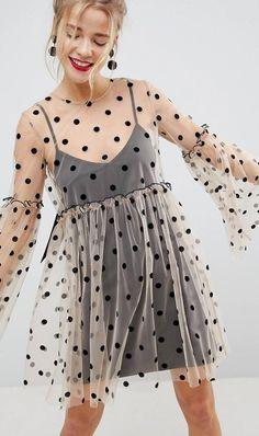 online shopping for ASOS Sheer Smock Mini Dress Spot Mesh from top store. See new offer for ASOS Sheer Smock Mini Dress Spot Mesh Mesh Dress, Dot Dress, Smock Dress, Ruffle Dress, Cute Dresses, Cute Outfits, Maxi Dresses, Party Dresses, Woman Dresses
