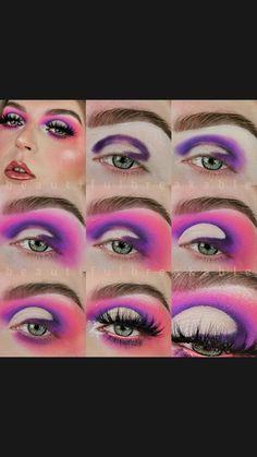 Purple Makeup Looks, Bright Eye Makeup, Green Makeup, Colorful Eye Makeup, Eye Makeup Steps, Makeup Eyes, Eyeshadow Makeup, Makeup Hacks, Makeup Inspo