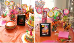 """One of my dear friend's celebrated her daughter's birthday party! It has become a """"No Boys Allowed"""" zone. Candy Theme Birthday Party, Candy Party, 1st Birthday Parties, 3rd Birthday, Kid Parties, Teenage Boy Party, Lollipop Centerpiece, Polka Dot Balloons, Pink Popcorn"""