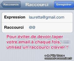 Marre de devoir retaper votre email à chaque fois sur votre iPhone ? Heureusement, il existe un truc simple pour éviter ce souci.  Découvrez l'astuce ici : http://www.comment-economiser.fr/eviter-taper-email-chaque-fois.html?utm_content=buffer96741&utm_medium=social&utm_source=pinterest.com&utm_campaign=buffer