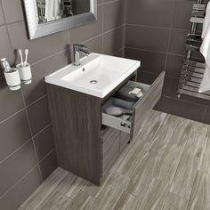 Vermont 600 Basin And Grey Avola Floor Standing Vanity Unit | Bathstore