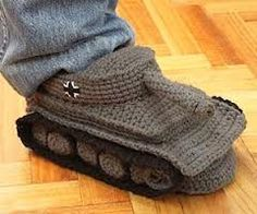 I see your shark socks and raise you tank slippers. - Imgur