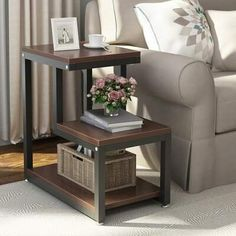 End Side Table with Storage Durable Furniture Shelf Decor Home Living Room - Side Tables - Ideas of Side Tables Decor Home Living Room, Living Room End Tables, Living Room Sofa, Home And Living, Living Room Furniture, Home Decor, Table Furniture, Living Rooms, Shelf Furniture