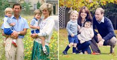 Compare the 1986 royal family photo of Prince Charles and Princess Diana with their sons to the new 2015 portrait of Prince William and Kate Middleton with George and Charlotte