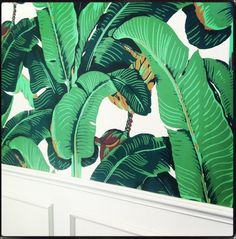 Bali.  1940's Martinque palm wallpaper sourced from the original maker as seen in the original Beverly Hills Hotel and now featuring in the NEW Petitenget club lounge in BALI.