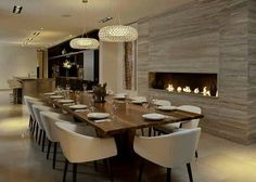 Large Dining room ideas with fireplace. See more: http://www.brabbu.com/en/inspiration-and-ideas/