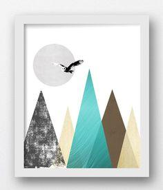 Digital Landscape Print Teal Cream Wall Art by MaxMeOneUniverse
