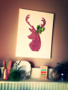My DIY glitter reindeer canvas! Cost me about $12