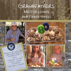 Grandfathers are for loving and fixing things!  Digital quotes, digital wood paper and digital brick paper are from Baer Design Studio. #digitalscrapbooking #digitalpaper #wooddigitalpaper #brickdigitalpaper #papercrafting