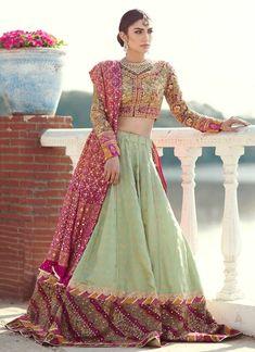 Buy Beautiful Indian Mint Green Lehenga Online in USA, Asian Bridal Lehenga with mukesh gotta & salma Work, Elegant Wedding Dress with Chunri Dupatta. Mehendi Outfits, Pakistani Wedding Outfits, Bridal Outfits, Pakistani Dresses, Indian Dresses, Indian Outfits, Bridal Dresses, Pakistani Couture, Pakistani Dress Design