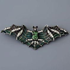 Antique Art Nouveau Plique-A-Jour Diamond and Green Garnet Bat Pin brooch…
