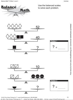 solving two step equations with balancing scales worksheet google search math enrichment. Black Bedroom Furniture Sets. Home Design Ideas