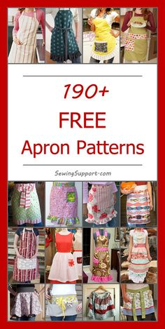 Lot of Free Apron Patterns to sew! Lot of Free Apron Patterns to sew! Apron Pattern Free, Sewing Patterns Free, Free Sewing, Retro Apron Patterns, Vintage Apron Pattern, Clothes Patterns, Sewing Aprons, Sewing Clothes, Sewing Hacks
